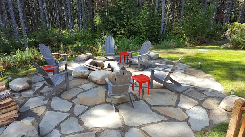 Firepit at side of the house