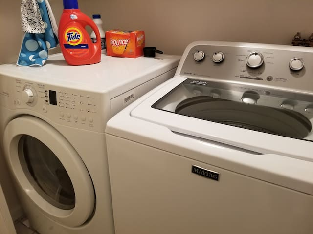 Laundry, also right next to the bedroom. Clean out lint trap after dryer use.