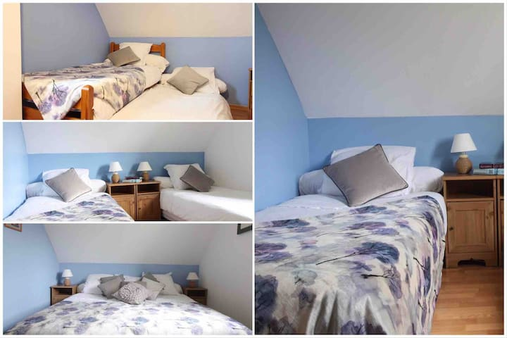 Bedroom 5 - sleeps 4. Double and singles configuration available. One of the singles has a draw bed which extends to full height. This bedroom is on the first floor.