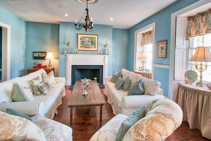Upon entering you are greeted with the formal living room.  Light and bright with sun off of Orange Street. Renowned painter William Welch most enjoyed this spot, often painting this home as is pictured above the fireplace.