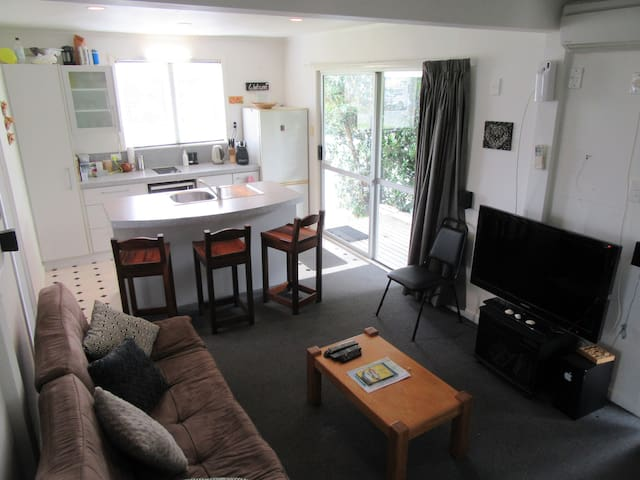 Open plan living, dining, kitchen, opens into deck