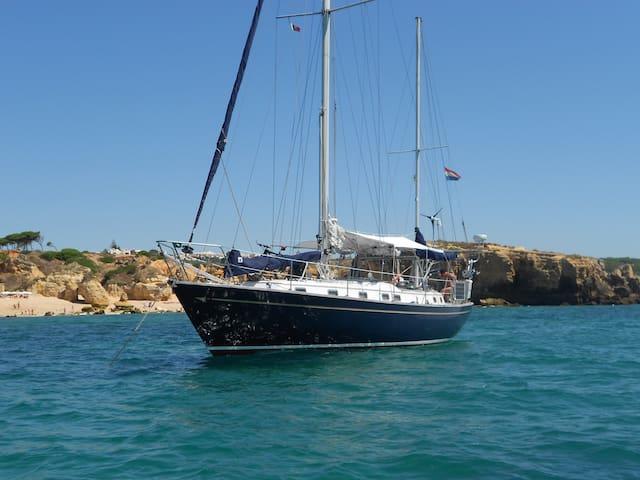 Simpson Bay lagoon, Sea Ya, boat airbnb on anchor.