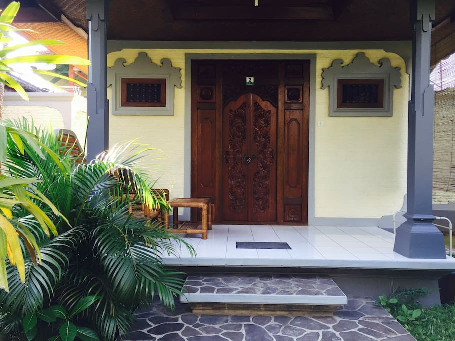 our room decorated with balinese entrance
