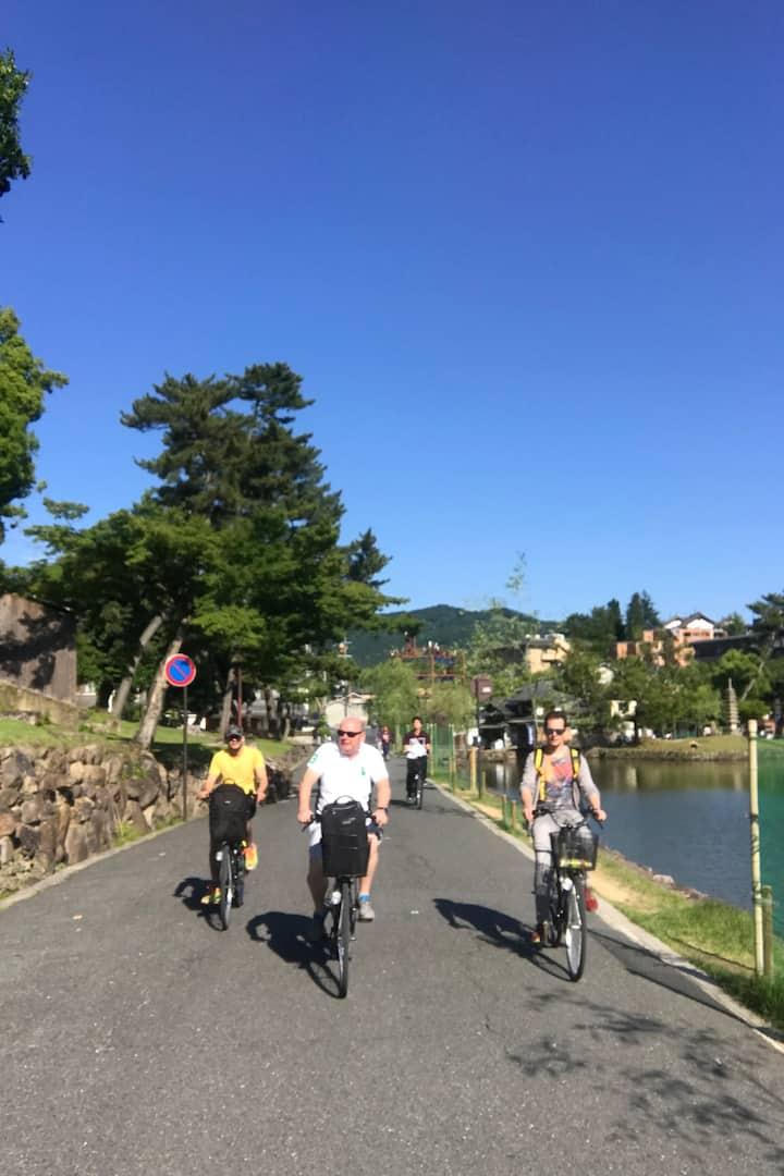 Cycling by Sarusawa pond