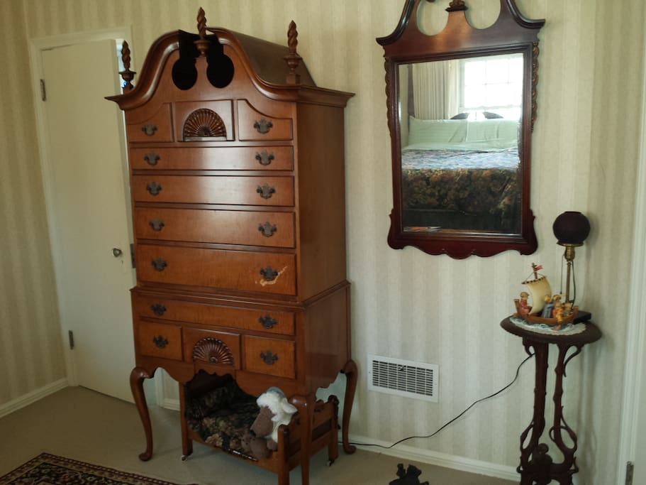 Highboy and walk-in closet for storage