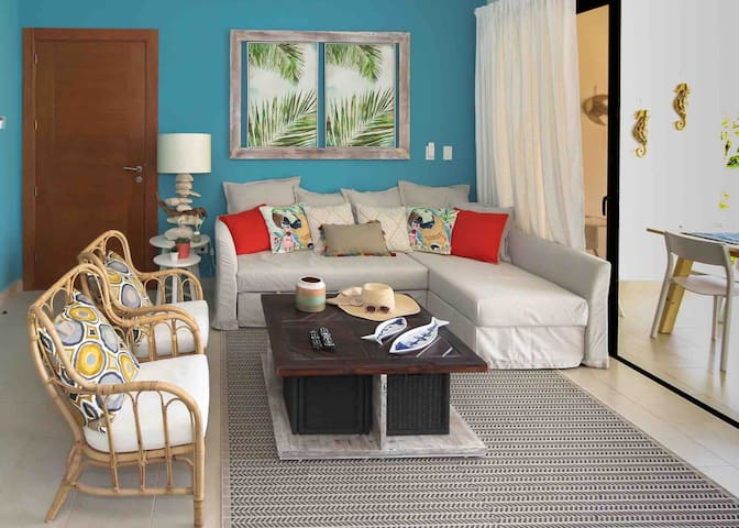 Multi-purpose living room area space that allows you to share during the daytime but also becomes a bedroom at night transforming a stylish sofa into a very comfortable double bed