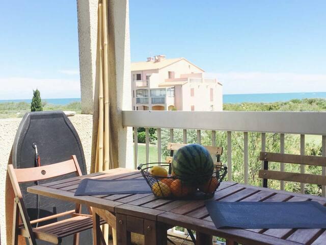 Lumineux 3 pieces confort, Piscine, face mer, FREG - Saint-Cyprien - Apartment