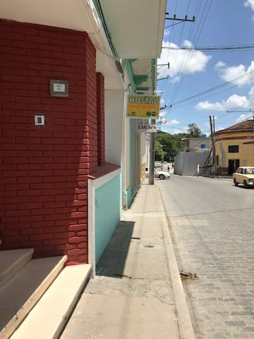 Entrance of the house.The trees at the end of the street are sorrounding El Monumento al Tren Blindado.
