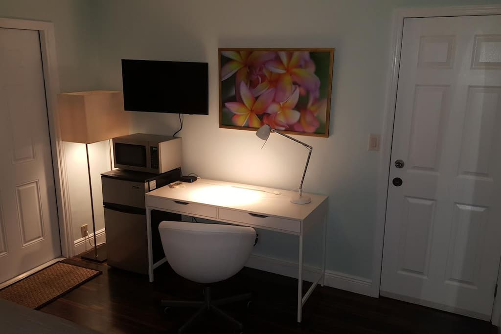 Mini Fridge, Microwave, TV, Desk