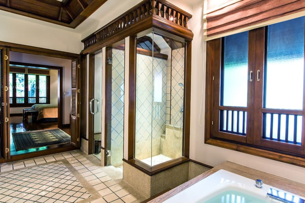 large bath room with shower and Jacuzzi master bedroom