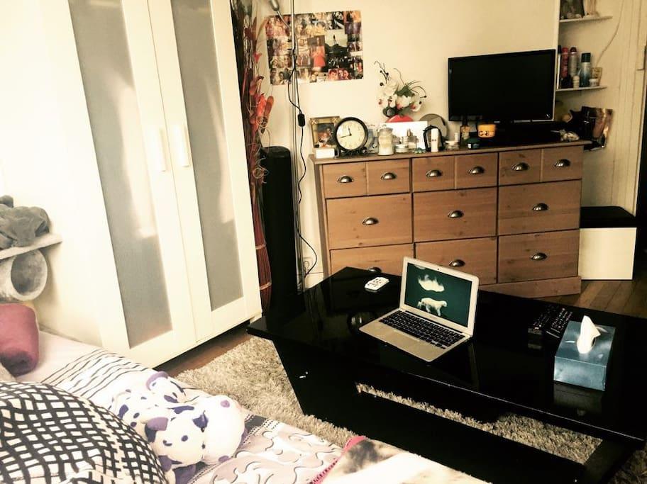Salon chambre cosy tout équipé
