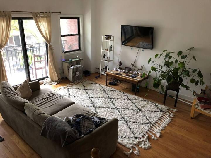 Big quiet corner room in a new large sunny duplex