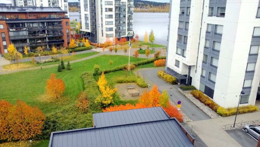 One-bedroom apartment with glassed balcony and sauna in Jyväskylä