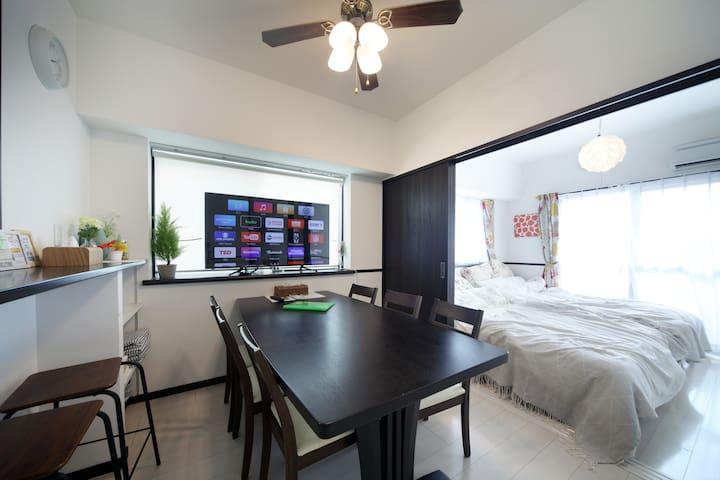 """T801新築Condominium最上階""""50inchTV+appleTV+Hulu"""" 駐車場無料"""