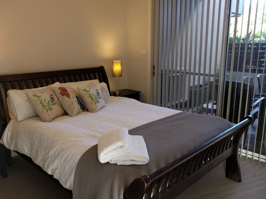 Bedroom no. 1 with private ensuite and access to private deck