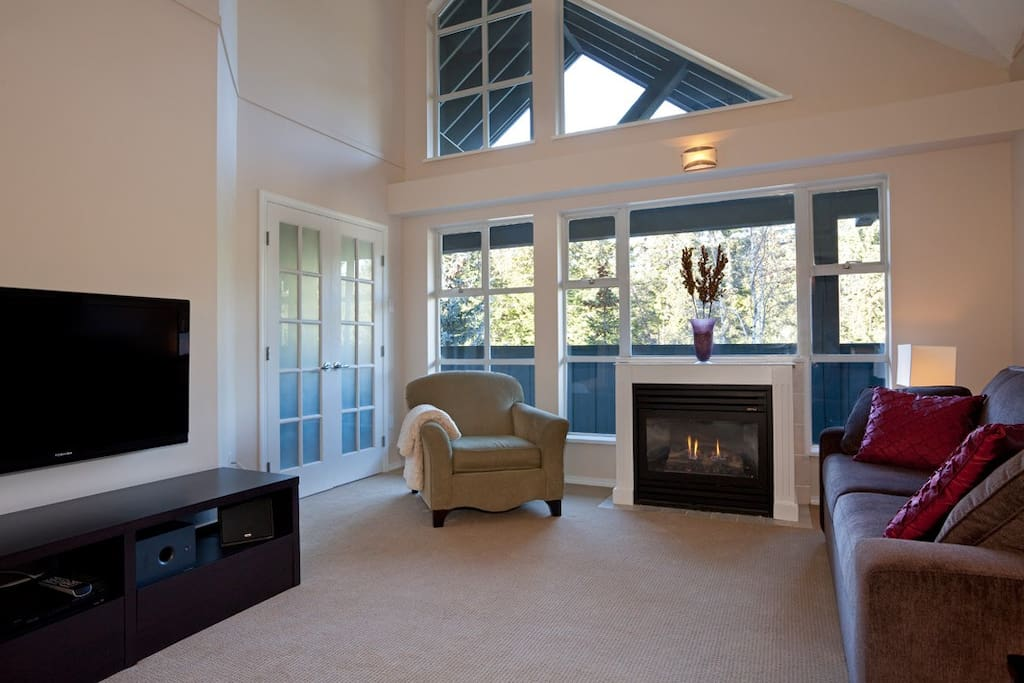Bright windows and vaulted ceilings provide a cozy home base for your Whistler adventures.