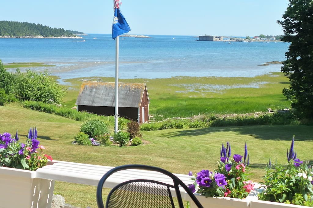 The view at mid-tide. Fort Popham in view.