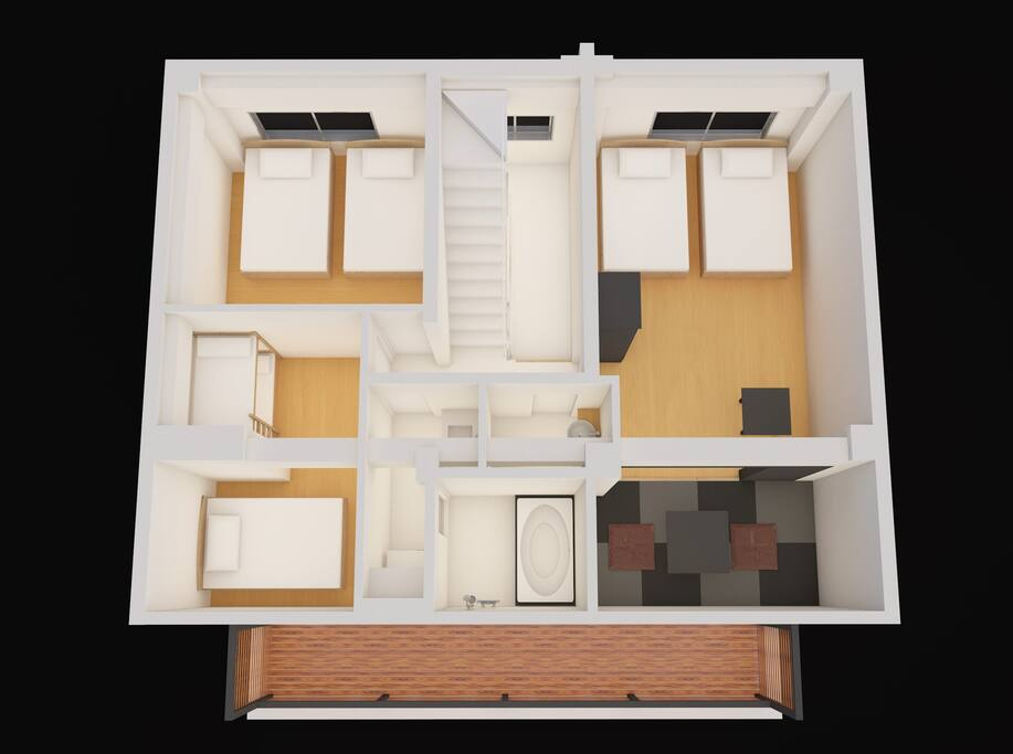 3 bed rooms (max 16 people)/5th floor 3部屋最大16名様宿泊 ベッドルームは5階
