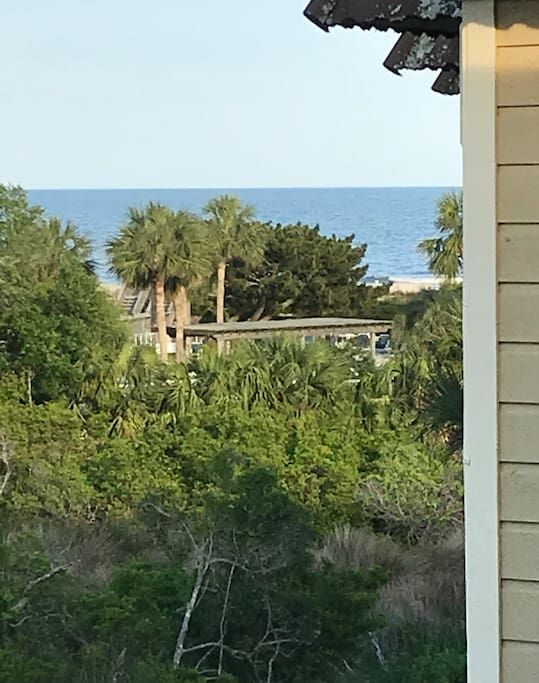 Ocean View from our covered deck! Check on WAVES before heading to Beach!!