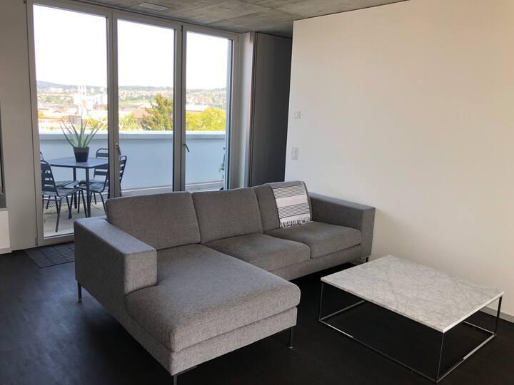 Modern Penthouse with 2 Decks & Alps Views