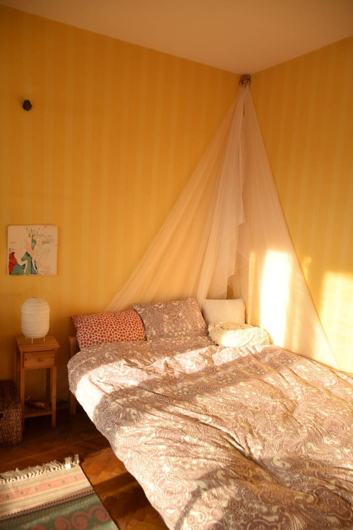 Bright, bohemian, ultracentral room
