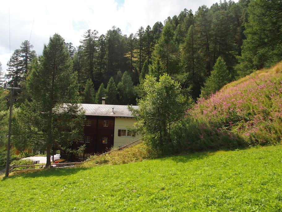 Unser Haus liegt an erhöhter Lage am Fusse des Hügels mit der Antonius-Kapelle.