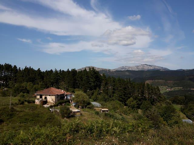 Vista general del caserío y el entorno donde está situado. Desde la casa se puede ver el monte Anboto