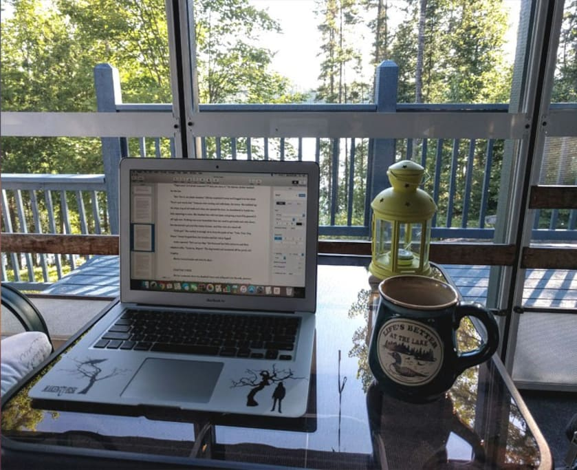 Screened in porch with lake view perfect for quiet writing