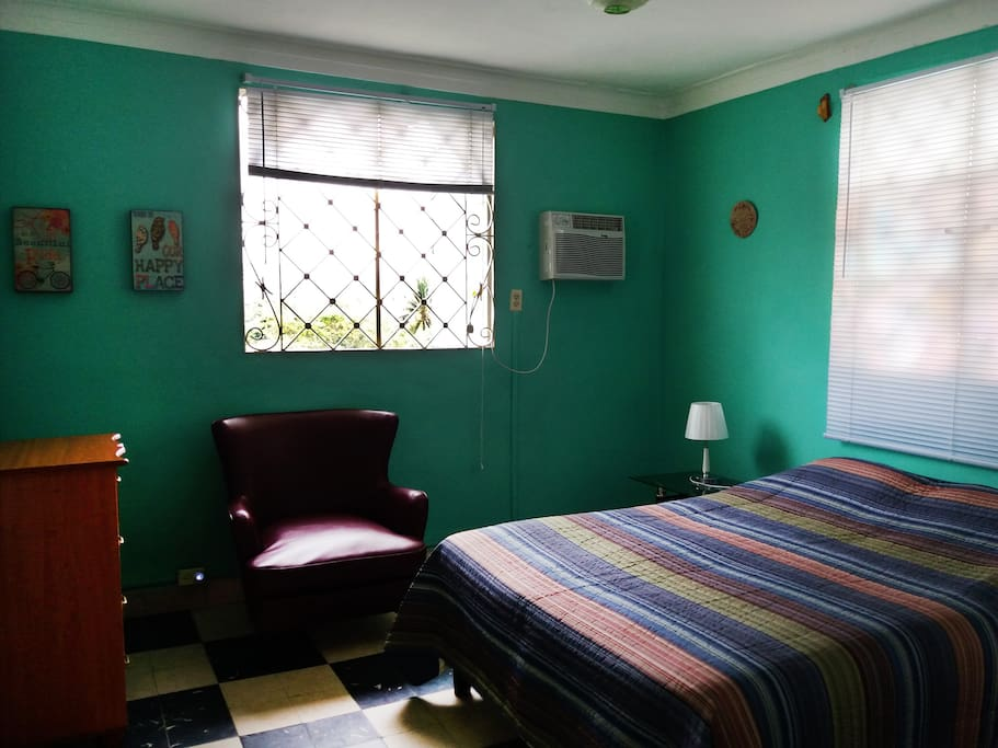 Bright room with AC, queen bed