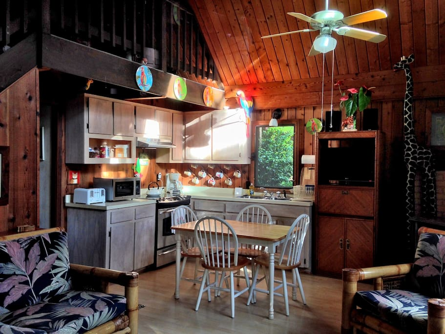 Oma's is a small place. When you walk in the front door you are in the living room, and looking over at the kitchen and dining areas. The maximum capacity is 4 adults and 2 children. There are two stools that can be added around the dining table.