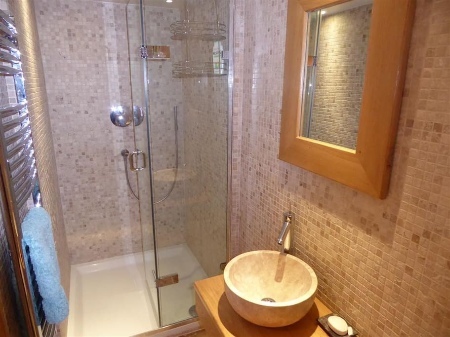 The bedroom has an ensuite bathroom with shower, basin and loo