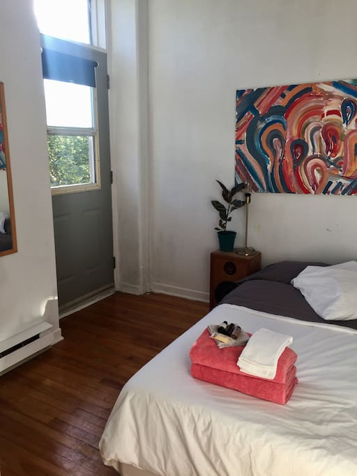 Closed bedroom, double bed with balcony