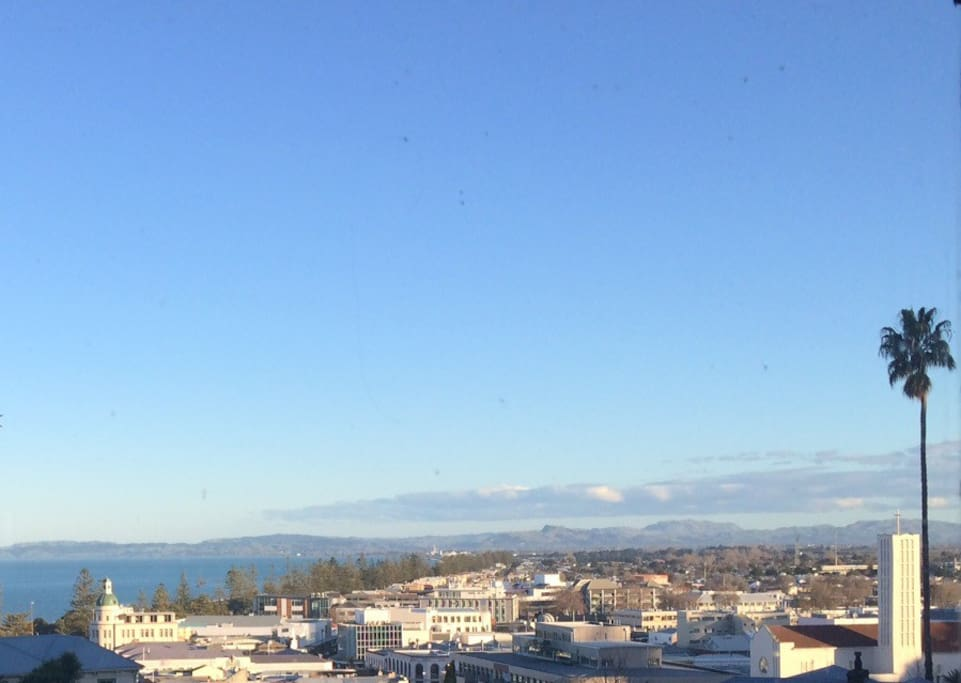 View from bedroom over Napier