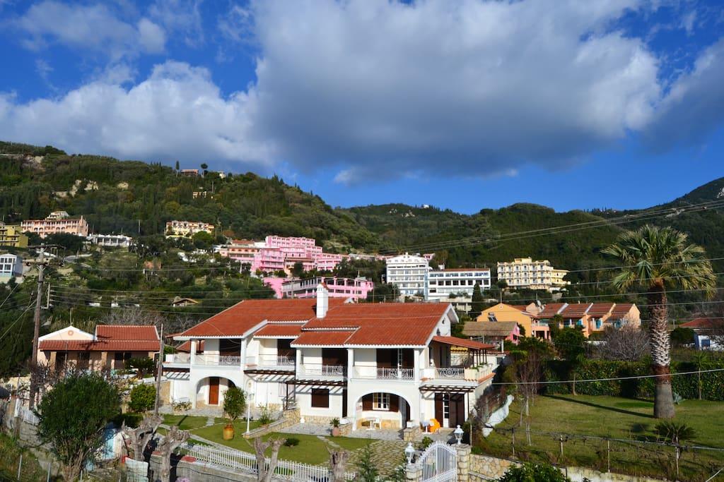 La Corfiota Villa as viewed from the beach land plot