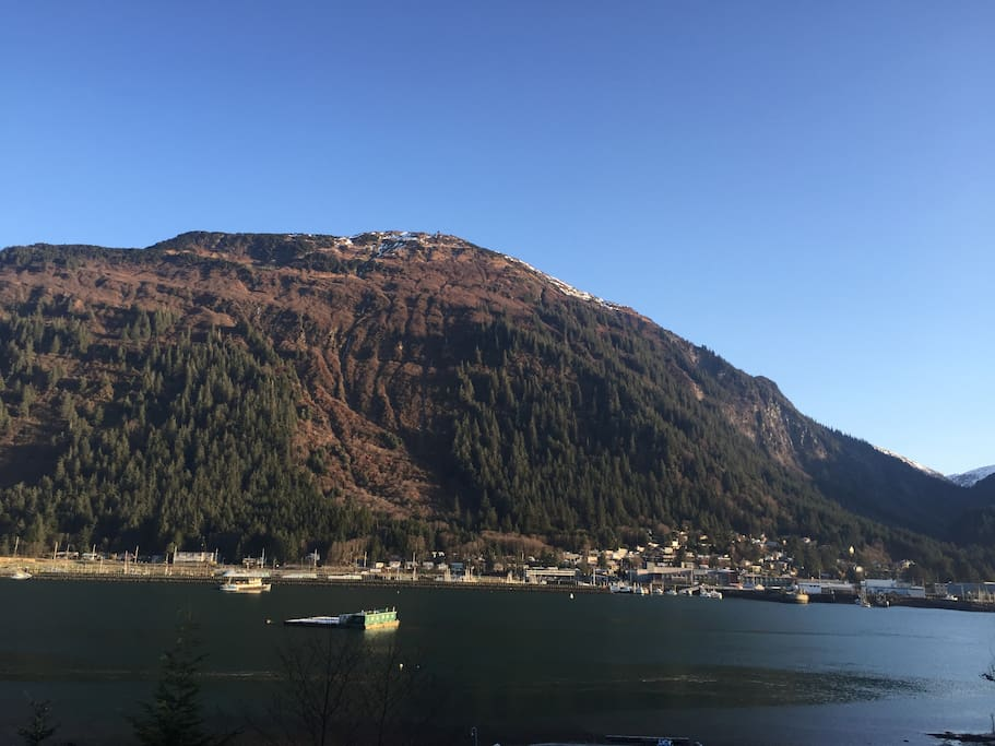 View of Mt. Juneau from the property. Perserverance Valley is on the right side of photo. Great hiking up Perseverance. Fun mountain biking as well.