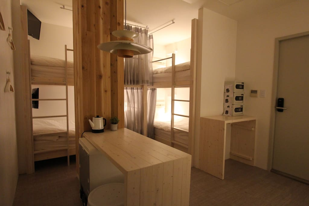 Each bed has safety box and personal TV. 6Bed Room