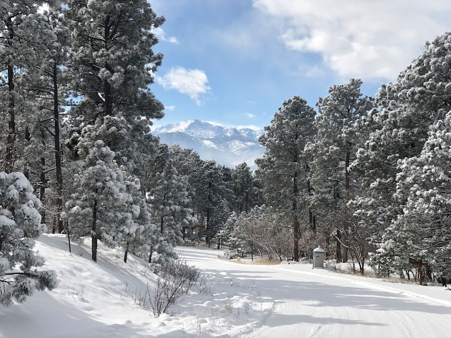 View of Pike's Peak taken from the front yard/street after snow fall
