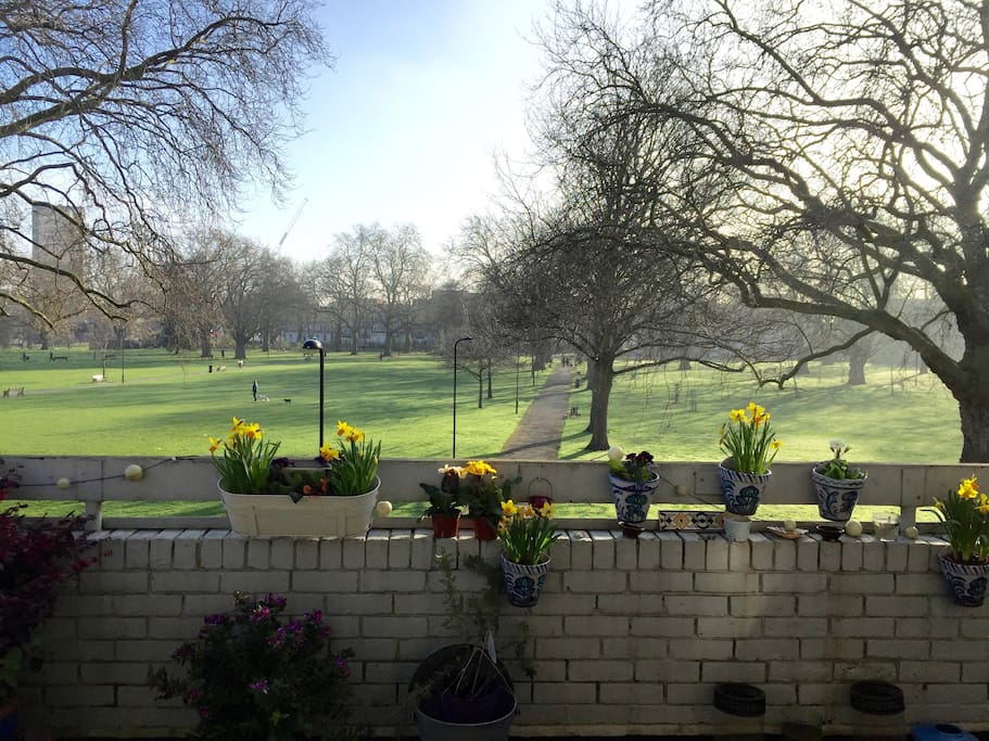 View of London Fields park from the large fourth floor balcony.