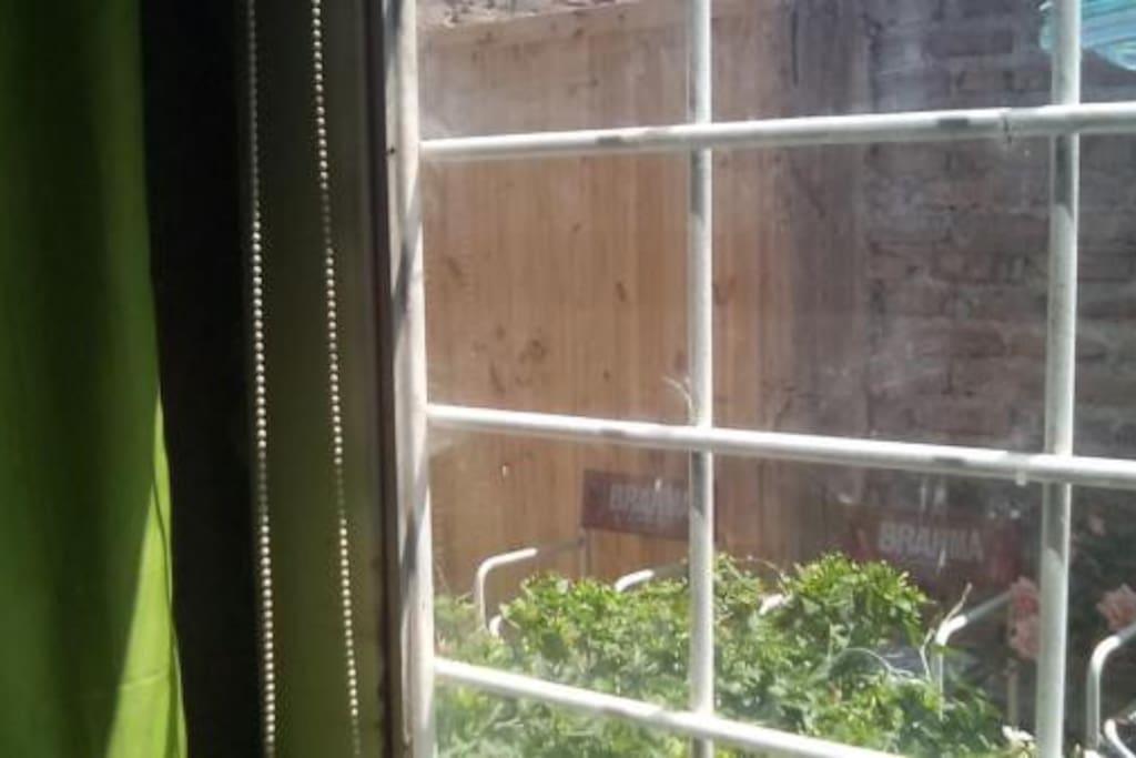 Puerta ventana con rejas de la habitación que se alquila