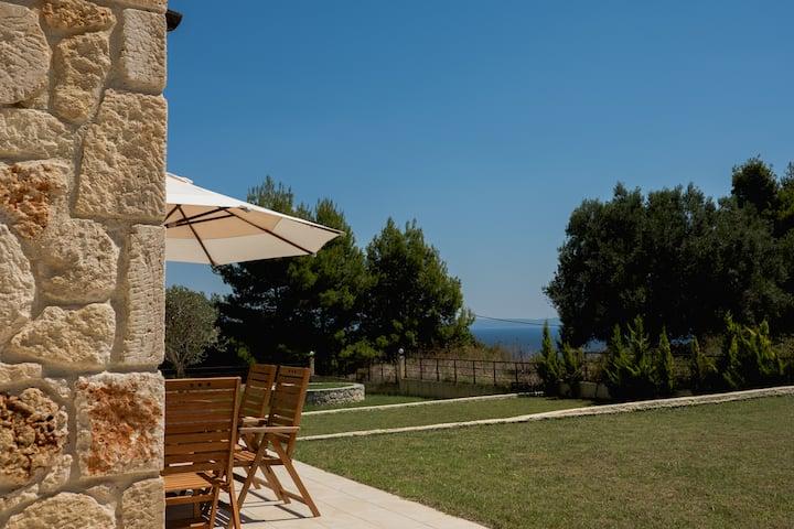 Paliouri Luxury home w/ beautiful patio & sea view