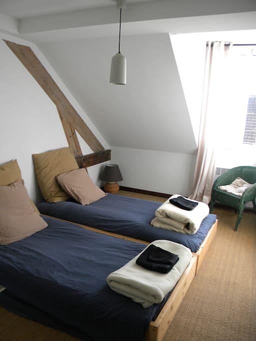 Chambre deux lits sous les toits en plein centre-ville.