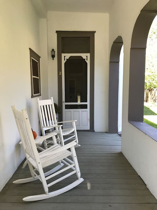 Front Door Entrance with welcoming Rocking Chairs