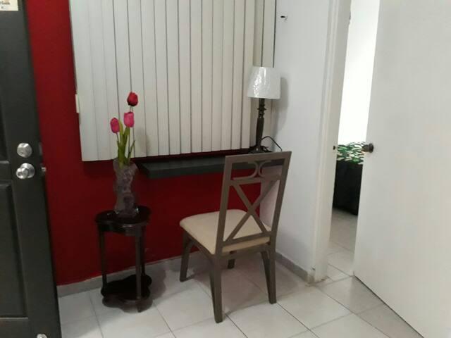 Entrada principal repisa para trabajar lampara y silla