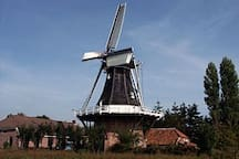 At only 500 m from the little house you'll find a typical mill. You can visit it from inside and see how mills were build in the 17the century.