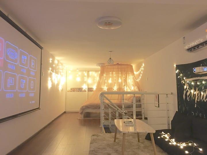 【观影小屋】100寸高清投影仪/INS北欧风/厨具俱全调料齐备/无线Wifi/免费停车