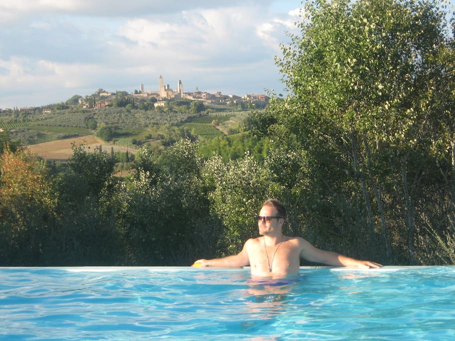 The infinity pool with the view of San Gimignano.