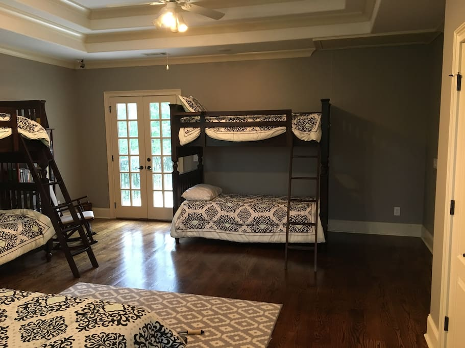 Two sets of bunkbeds and a private patio