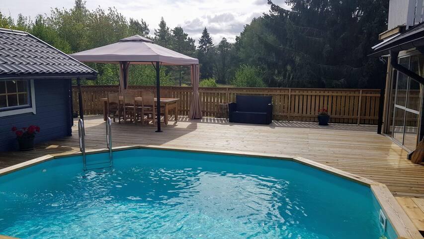Big Swedish summer house with pool and sauna