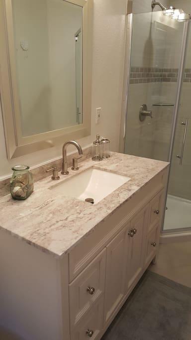 Newly renovated. Large vanity