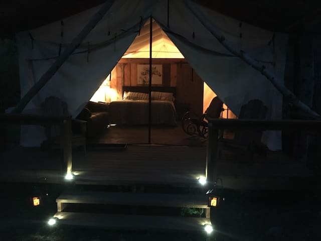 Evening in our Glamping Cabins!